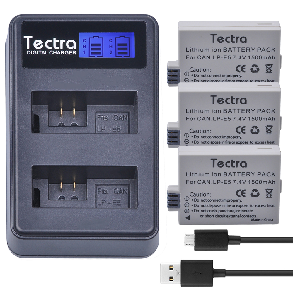 3pc LP-E5 LP E5 LPE5 Camera Battery+LCD Dual Charger for Canon EOS Rebel XS, Rebel T1i, Rebel XSi,1000D,500D,450D,Kiss X3,X2,F image