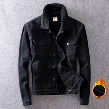 British Fashion Winter Jacket Men Coats Velvet Thick Denim Warm Jackets Hombre High Quality Black Lamb Cashmere Bomber Jackets