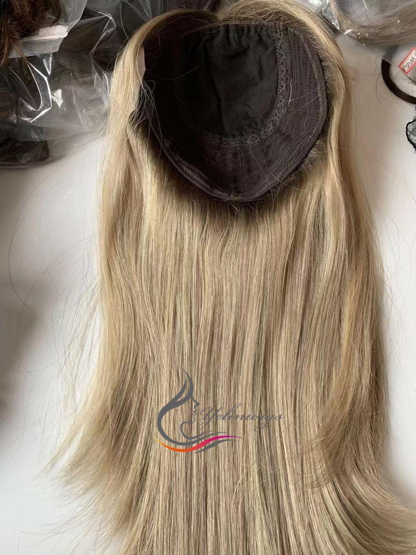 Stock European Hair Jewish Topper Hair Pieces Kippah Fall Kosher Hair Piece For Women 16 Inch 8x8 Size