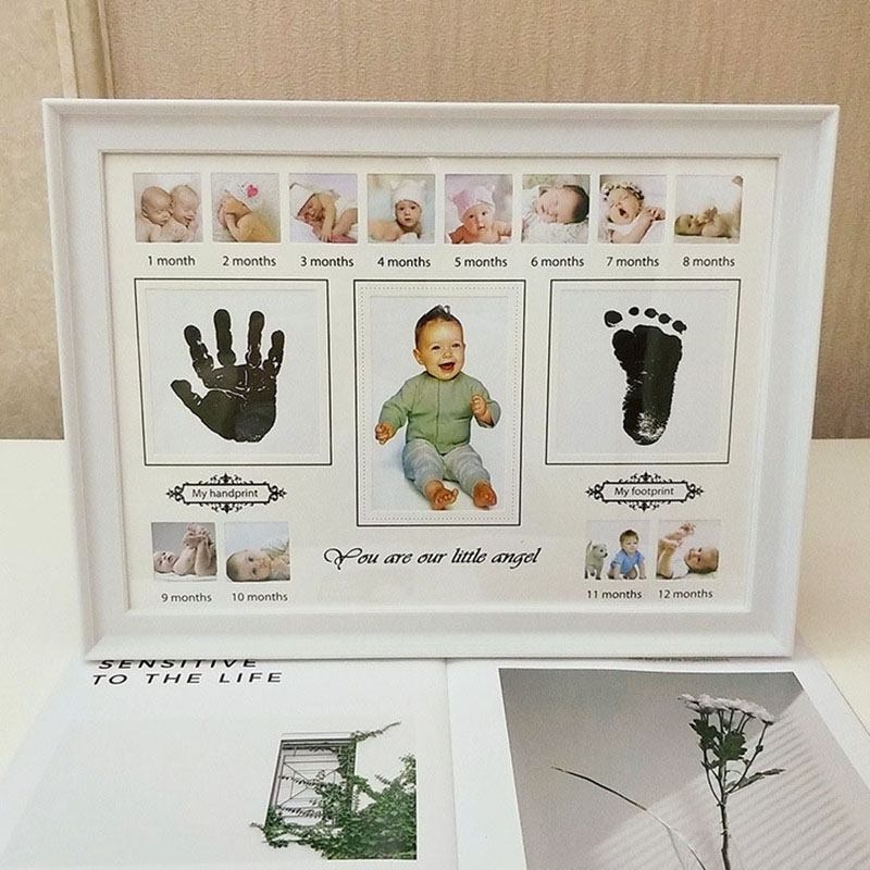 Baby Handprint Footprint Photo Frame Non-Toxic Newborn Imprint Hand Inkpad Watermark Photo Frame Infant Souvenirs Birthday Gifts
