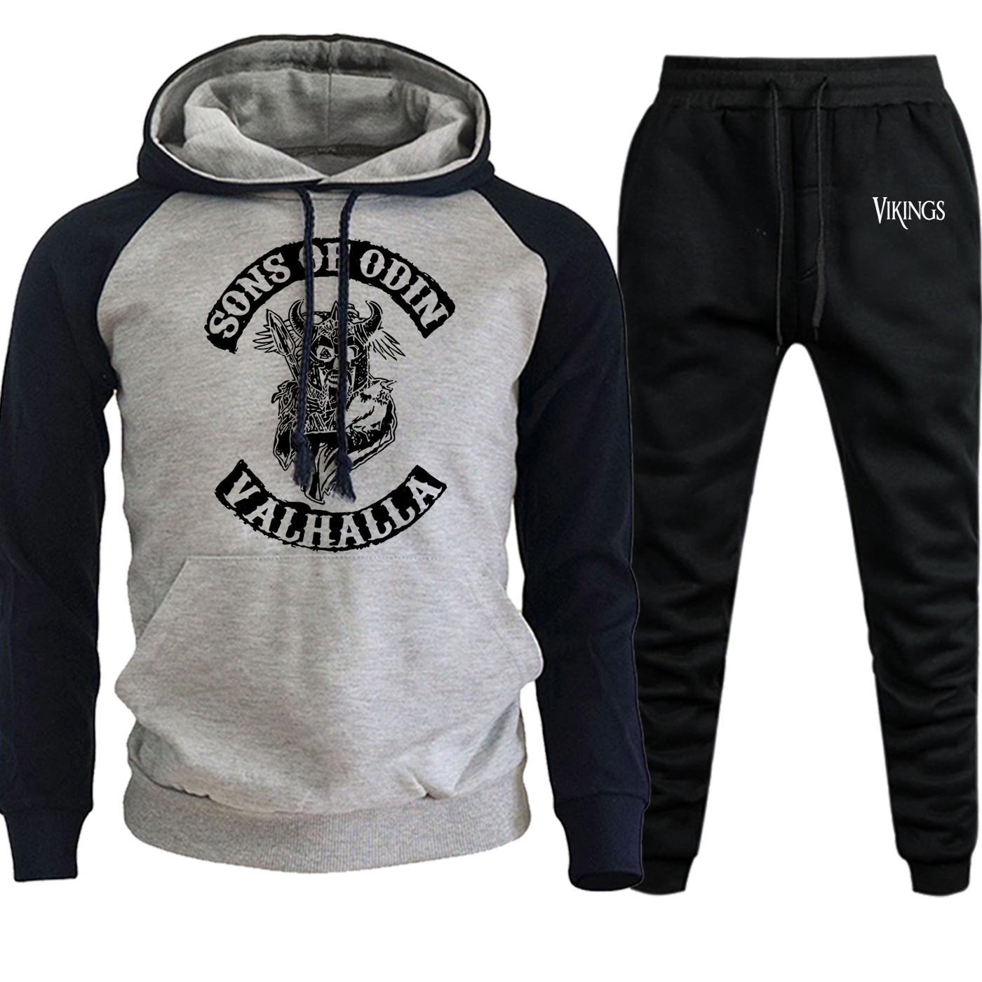 Vikings Streetwear Men Funny Raglan Hoodies Autumn Winter 2019 Suit Male Hip Hop Pullover Casual Fleece Hoody+Pants 2 Piece Set