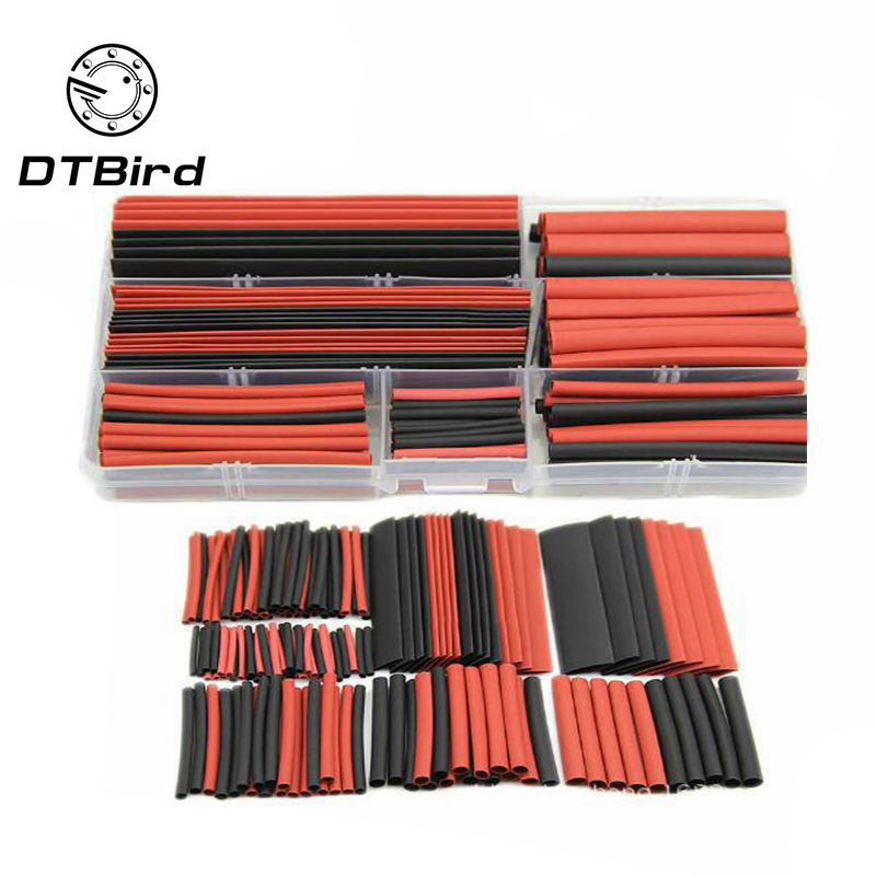 150PCS Assortment Heat Shrink Tubing Tube Boxed Environmental Heat Shrinkable Tube Black And Red