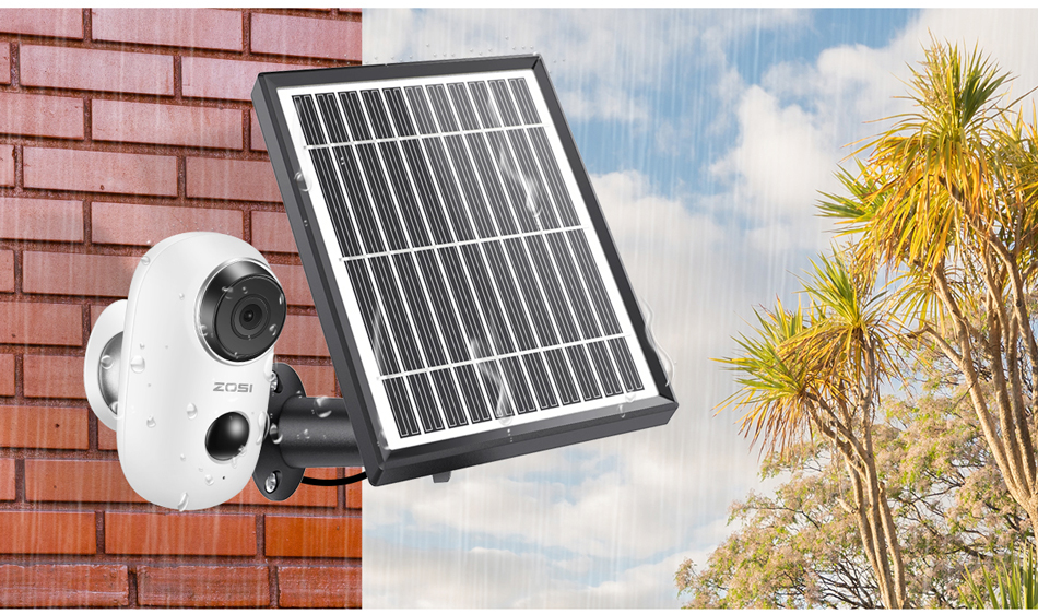 H7a8401a8976b4dbe845f5b62672328abM ZOSI Rechargeable Battery Powered IP Camera Solar Power Charging 720P/1080P HD Outdoor Wireless Security WiFi Camera