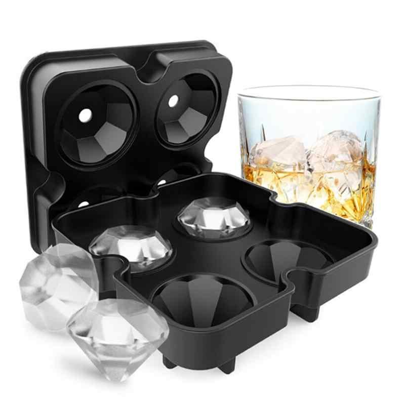 4 hohlraum 3D Ice Cube Mold Maker Diamant Form Bar Party Silikon Ice Cube Trays Schokolade Form Küche Werkzeug