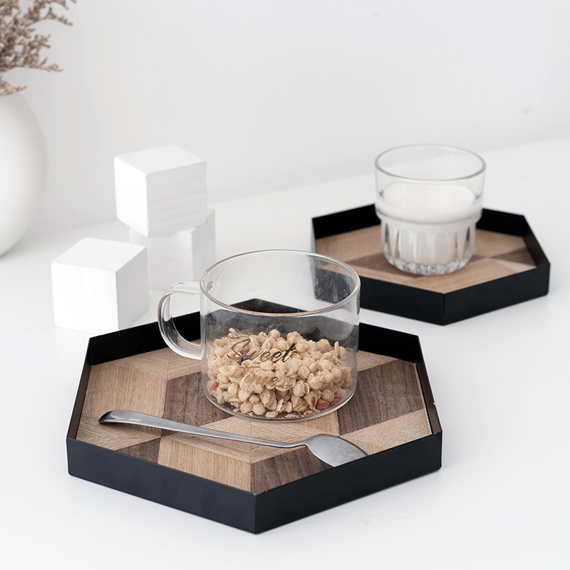SWEETGO Black coffee tray with wood veneer mat table storage plate for makeup perfume home decoration cake stands food| |   - AliExpress