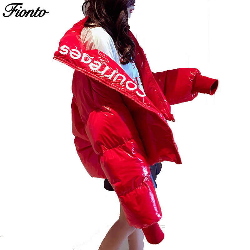 FIONTO Winter Glossy Down Parka women's Waterproof Coat Embroidery jacket large size Loose Winter Warm Thick Parka Women Jacket