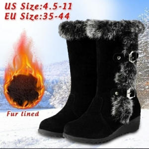 Winter Women Shoes Ladies Mid Calf Boots High Tube Classic Thick Fleece Models Snow Boots Muje Plus Size 35-42