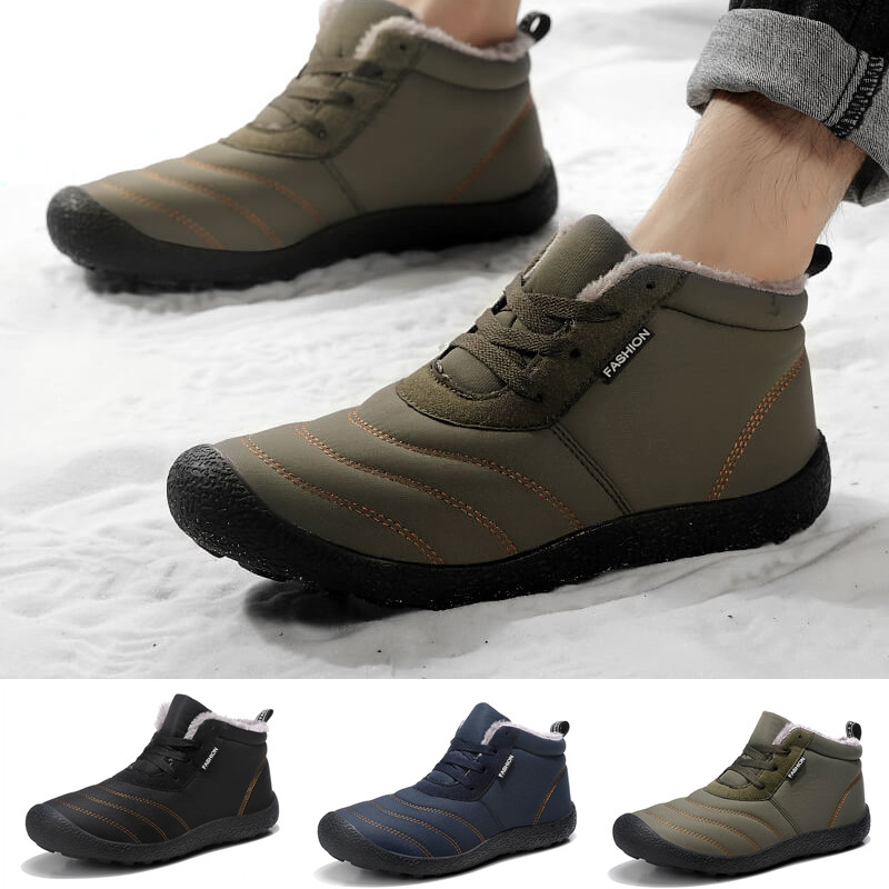 Winter <font><b>Men</b></font> Snow Boots Thicken Plush <font><b>Lining</b></font> Keep Warm Boots Waterproof Fabric Cotton-padded <font><b>Shoes</b></font> image
