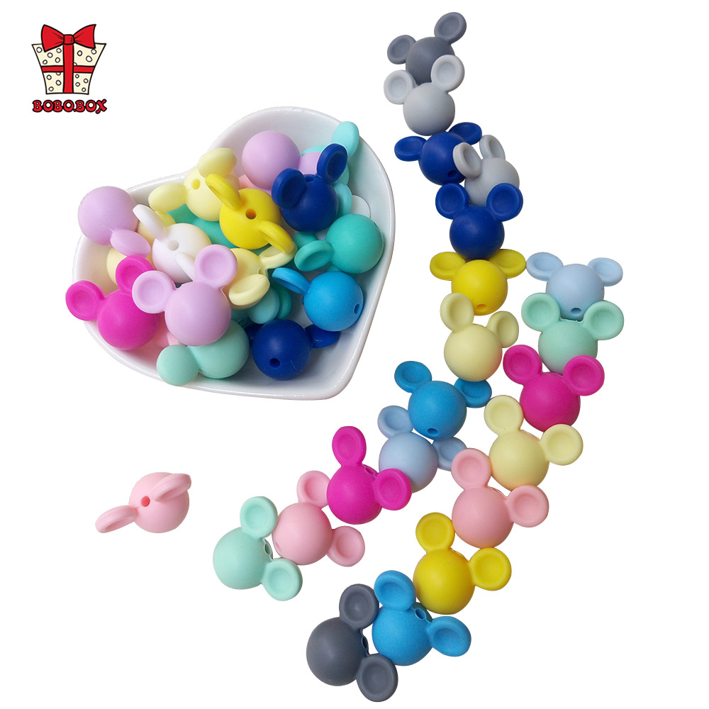 BOBO.BOX 10pcs Mickey Silicone Beads Food Grade Baby Teether Toy Soft Chew Teething BPA Free DIY Charm Necklace Silicone Perle