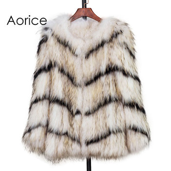 цена CT7003 New Knitted Raccoon Fur Coat Full Sleeve Raccoon Fur Jacket  Wavy lines white and black  real fur coat онлайн в 2017 году