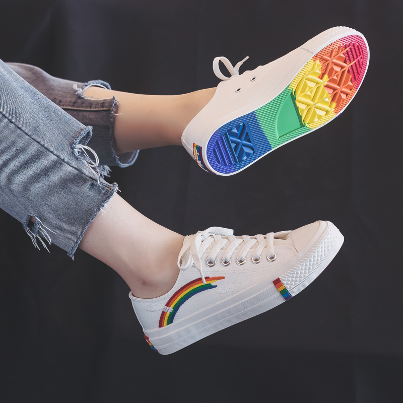 Rainbow Canvas Women Shoes 2019 New Fashion Shoes Leisure Board Shoes Retro Wild Low-top Breathable Casual Shoes Women Sneakers 3