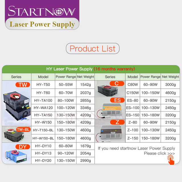 Startnow HY-T150-BL alimentation Laser 110V 220V pour 300W-800W CO2 Laser pliant Tube Laser 130W générateur PSU 150W Source Laser