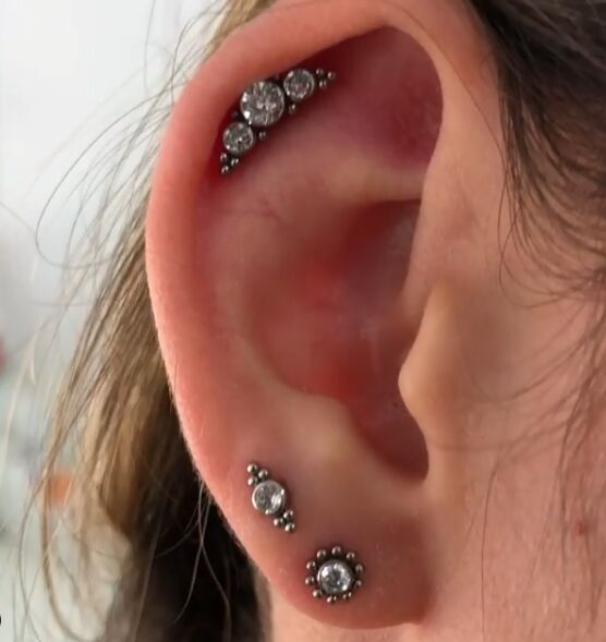 3pcs Set Stainless Steel 16g Daith Earring Trinity Ball Crystal