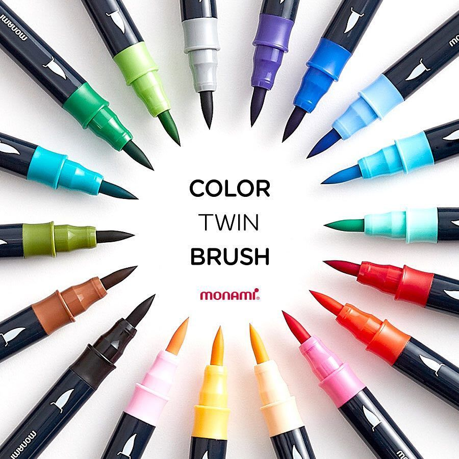 Monami Water Color Brush Pen, Watercolor Medium Fine Twin Brush Marker For Drawing Calligraphy Painting School Art Design A6554