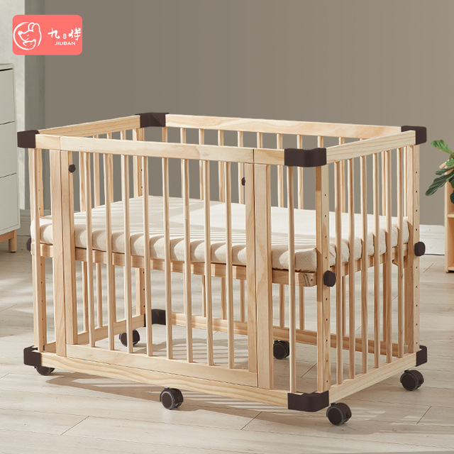 Solid Wood Baby Crib  1