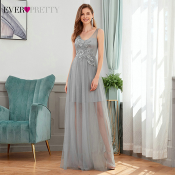 Gray Bridesmaid Dresses Ever Pretty EP00436GY A-Line Sequined Appliques Sleeveless Tulle Elegant Wedding Party Gowns Vestidos - discount item  35% OFF Wedding Party Dress