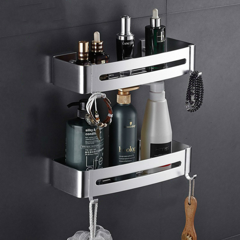 Corner Shelf Bathroom Shelves Wall Mounted Aluminum Bathroom Soap Dish Bath Shower Shelf Bath Shampoo Holder  Wall Mounted Type