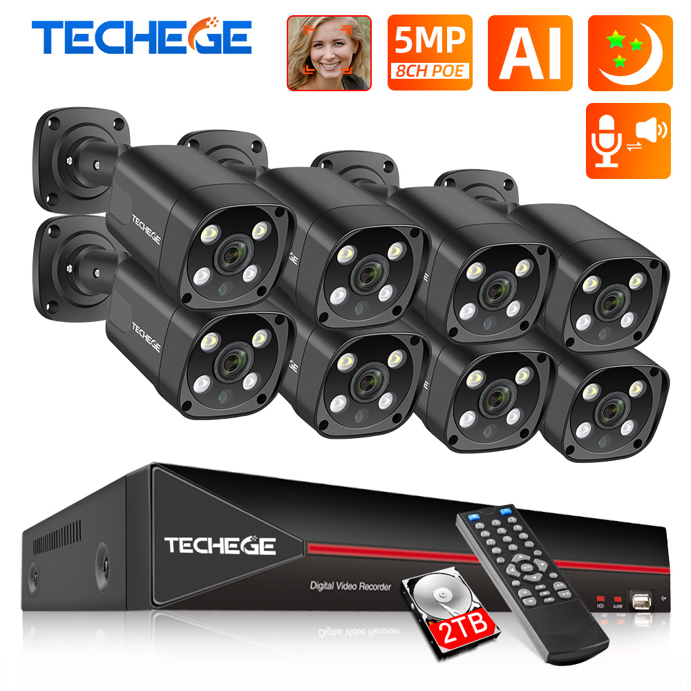 Techege 8CH 5MP POE AI CCTV Security Camera System Kit Face Detection Two Way Audio Outdoor Video Surveillance Camera Kits P2P