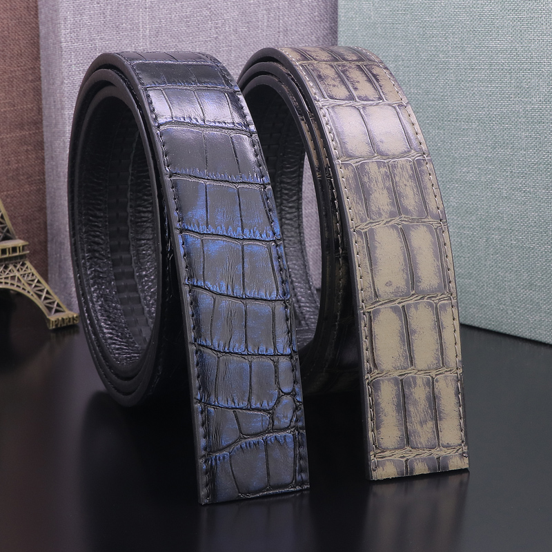 High Quality 3.5cm Of Automatic Buckle Crocodile Pattern Men Belts Without Buckle Black Men Genuine Leather Cowhide Waist Straps