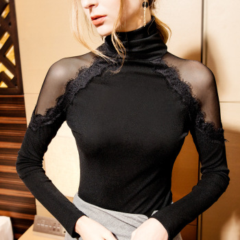 Size S-3XL Women Turtleneck Slim Full Sleeve Mesh Patchwork Lace T Shirts Lady Sexy Off Shoulder Tops Tees For - discount item  10% OFF Tops & Tees