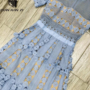 Image 5 - Qian Han Zi 2019 дизайнерское модное подиумное Макси платье женские с коротким рукавом с вышивкой кружевные Элегантные Длинные вечерние платья