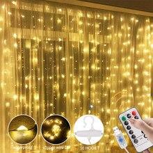 3 м светодиодный гирляндой гирлянда Шторы лампы дистанционного Управление USB гирлянды новогоднее; Рождественское украшение для дома Спальн...