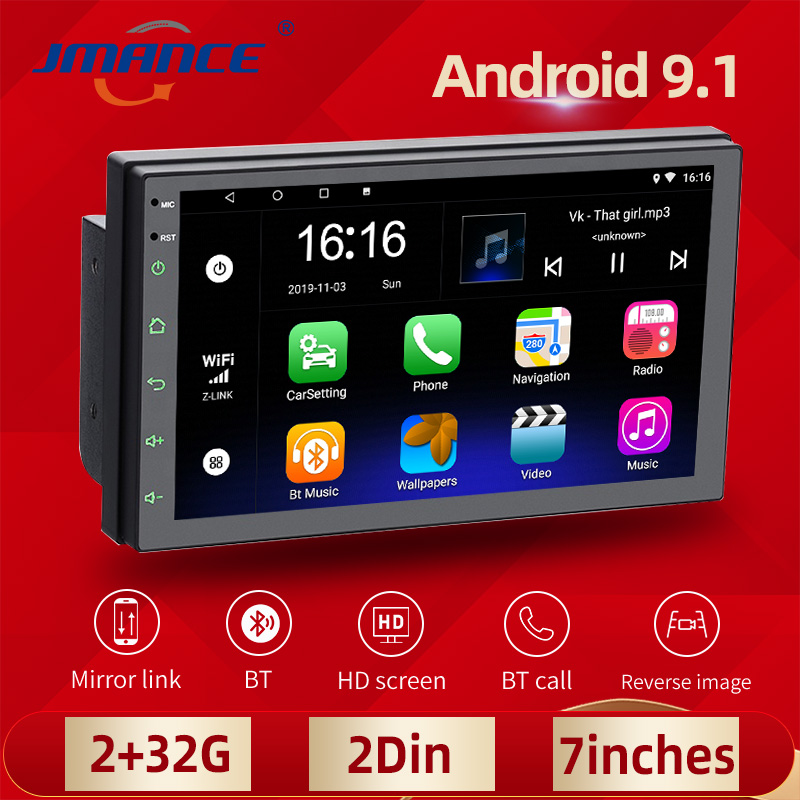 JMANCE Car Radio Android Player 2 Din GPS Multimedia Autoradio 7'' Touch Screen Bluetooth FM WIFI Stereo Mirrorlink For Toyota