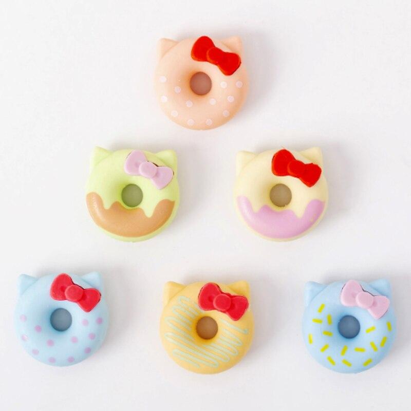 6pcs/set Creative Bow Doughnut Eraser Sets Student Gift  School Supply