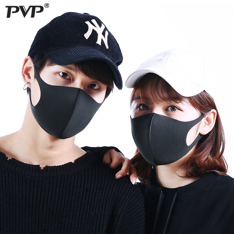 PVP 3Pcs Multiple Sets Of Dust And Dust Respirator PM2.5 Respirator Black Bilayer Sponge Mouth Mask Mouth-muffle Wind Proof Mask