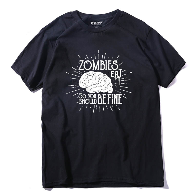 COOLMIND ZO0114A 100% cotton casual zombies brain men tshirt short sleeve t-shirt funny t shirt tops tees
