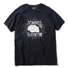 COOLMIND ZO0114A 100% cotton casual zombies brain men tshirt short sleeve t-shirt funny t shirt tops tees