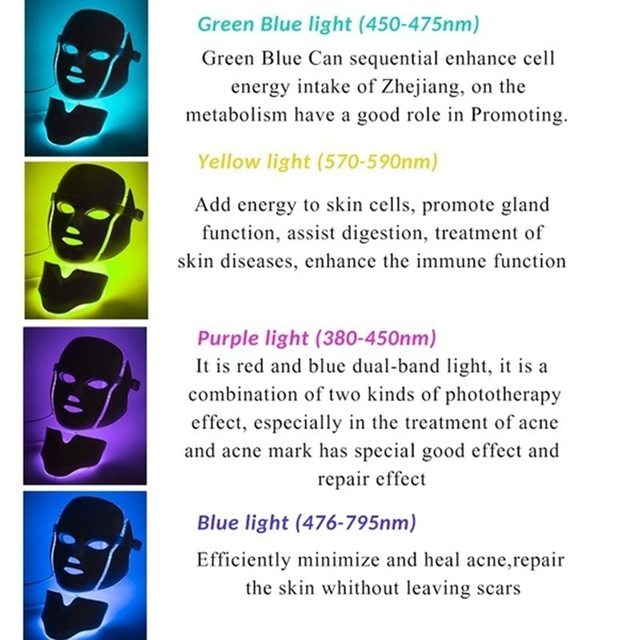 Led Facial Mask 7 Colors Korean Photon Therapy Face Mask Light Therapy Wrinkle Acne Removal Skin Rejuvenation Neck Beauty Mask 4