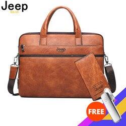 JEEP BULUO мужской портфель, сумки для 14 ноутбука, деловая сумка для мужчин, комплект из 2 предметов, сумки, высокое качество, Кожаные Офисные Сум...