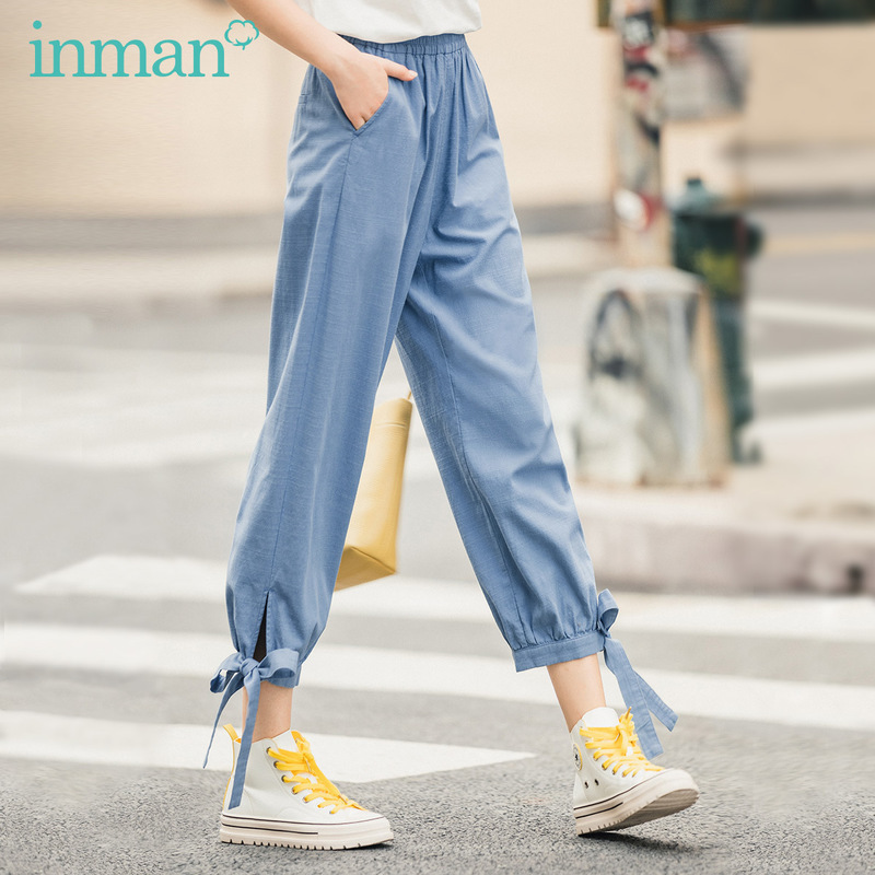 INMAN 2020 Summer New Arrival Bow Lace-up Loose Cool Fresh Vitality Youth Nine Quarter Pant