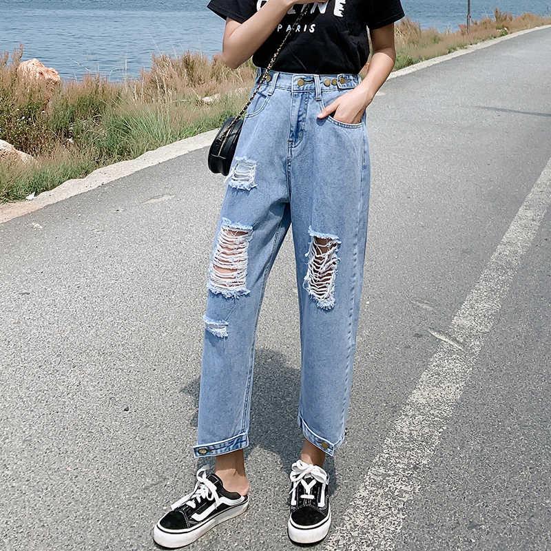 Gran Tamano Sexy Arranco Vaquero Mendigo Mujeres Agujeros Grandes Destruido Roto Pantalones Rotos Vintage Mujer Pantalones De Mezclilla De Novio Pantalones Vaqueros Aliexpress