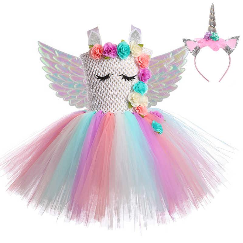 Unicorn Vestito del Bambino Della Principessa Delle Ragazze Abiti Per Le Ragazze Del Partito di Cosplay Arcobaleno Bambini Di Compleanno di Halloween Unicorn Costume Con Le Ali