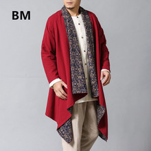 Spring Autumn Trench Coat Mens Overcoat Kimono Cotton Linen Shirt Reversible Win