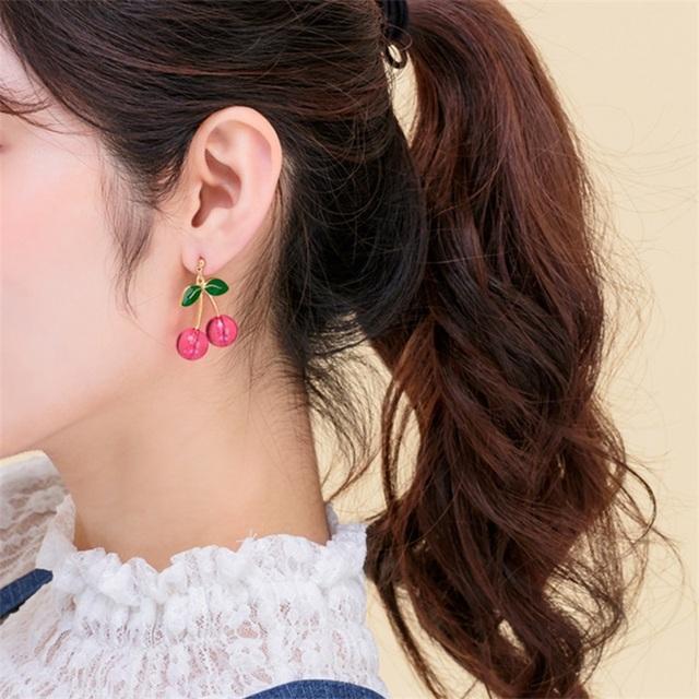 2020 Fashion New Sweet Cute Cherry Earrings Collection Hot Sale Red Fruit Cherry Fruit Earrings Beautiful.jpg 640x640 - 2020 Fashion New Sweet Cute Cherry Earrings Collection Hot Sale Red Fruit Cherry Fruit Earrings Beautiful Women Jewelry Gifts