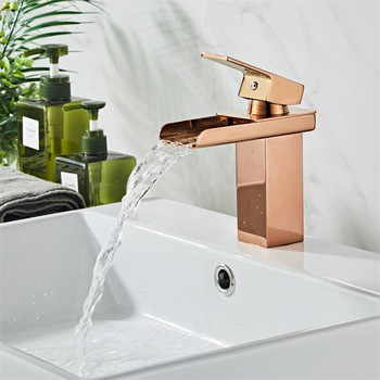Rose Gold Basin Faucet Modern Bathroom Sink Mixer Tap Brass Wash basin Faucet Single Handle Single Hole Crane For Bathroom 9