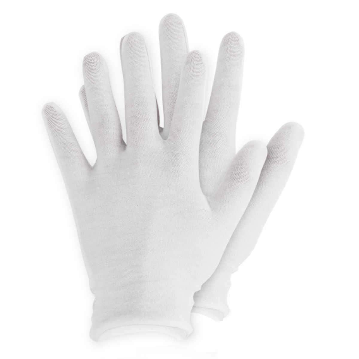 قفازات بيضاء من القطن رقيقة قابلة لإعادة الاستخدام مرنة لينة الكبار قفازات العمل للترطيب اليد الجافة مستحضرات التجميل اليد سبا التفتيش المجوهرات