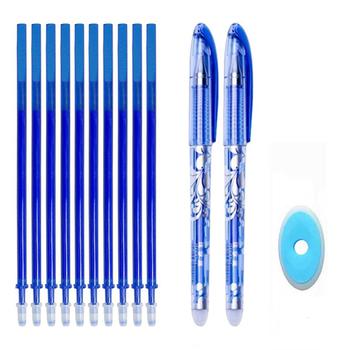 Zestaw długopisów szkolnych zmazywalne szkolne długopisy z gumką z niebieskim i czarnym atramentem tanie i dobre opinie hopk HOPK-5 Z tworzywa sztucznego 0 5mm Biuro i szkoła pen