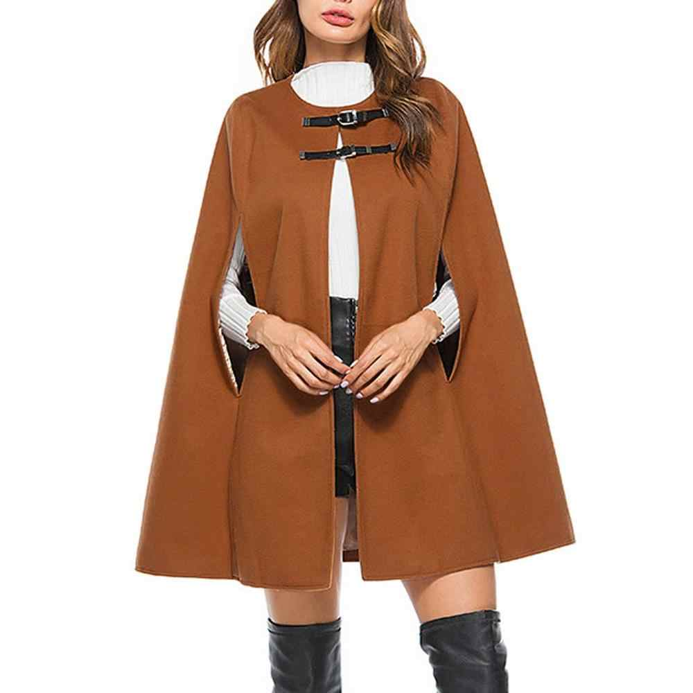 2019 herbst Winter cape femme Dame Womens Warm Solide Colort Fledermäuse Cape-Mantel Jacke Strickjacke Oberbekleidung poncho capas de mujer CD
