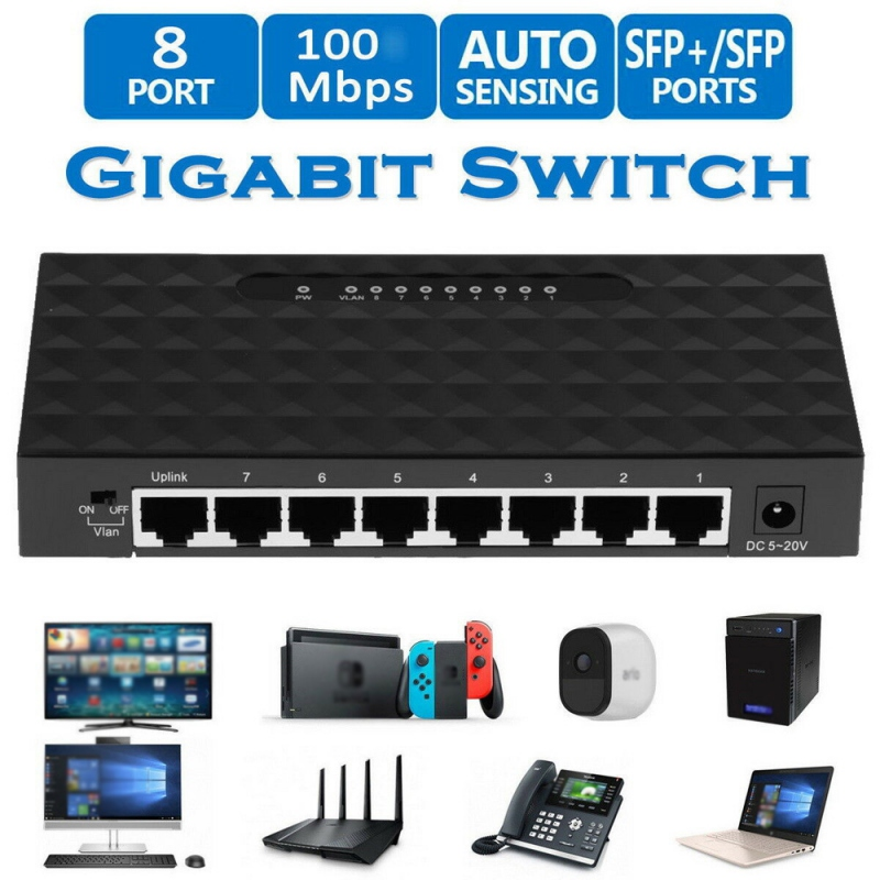 8 Port Gigabit Switch 10/100Mbps Ethernet Fast Desktop Network Switching Hub Shunt With EU/US Power Adapter