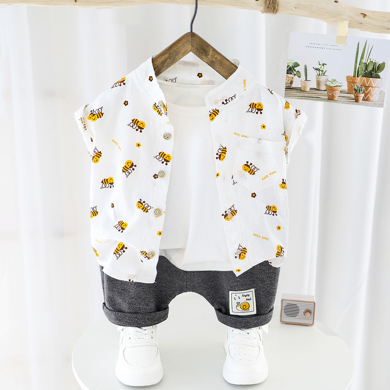 Summer Baby Boy Clothes Set Kids Printed Short Sleeve Shirt+Shorts 2pcs Casual Toddler Boys Outfits Cotton Cardigan Newborn Suit