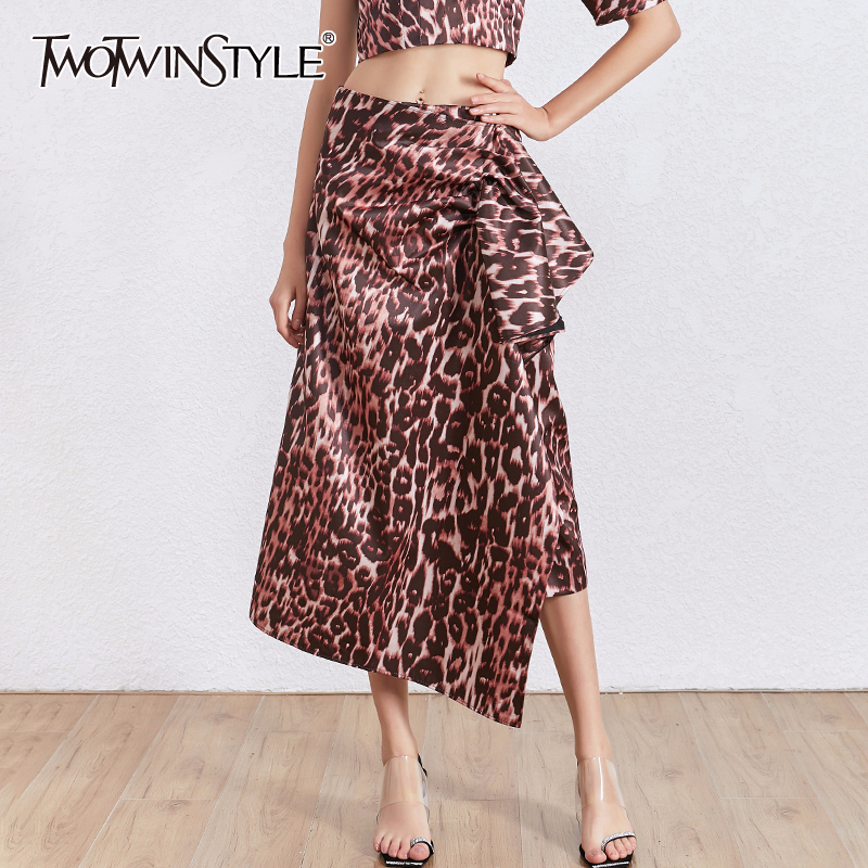 TWOTWINSTYLE Leopard Irregular Skirt Female High Waist Printed Midi Skirt Women Fashion Clothes 2020 Spring Summer New