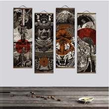 Póster japonés de tigre Ukiyoe para pared, imágenes para decoración del hogar, pintura, arte de pared con rollo colgante de madera sólida