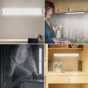 Image 5 - محس حركة ضوء الليل المحمولة 14/20 LED إضاءة الخزانات USB شحن التعريفي ليلة مصباح لغرفة النوم غرفة المعيشة الممر