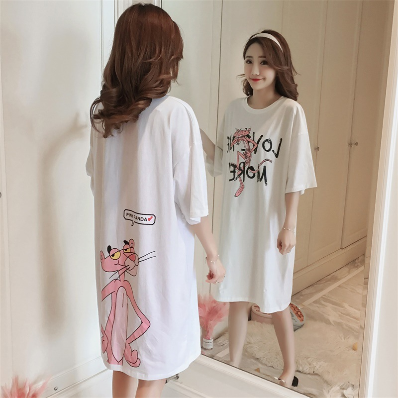 Short Sleeve Nightgown Women's White Leopard M-XXL (10.5 Yuan) To Fight A Lot Of Usable Figure
