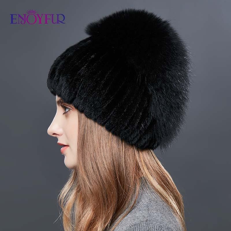 Image 4 - ENJOYFUR Real Fox Fur Hat Female Natural Mink Fur Women Winter Hats Vertical Rhinestones High Quality Beanies Fashion Caps-in Women's Skullies & Beanies from Apparel Accessories