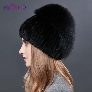 Image 4 - Enjoyfurリアルキツネの毛皮の帽子女性の自然なミンクの毛皮女性の冬帽子垂直ラインストーン高品質ビーニーファッションキャップ